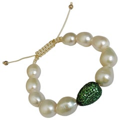 Tsavorite Pave and Pearls Bracelet