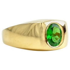 Tsavorite Ring for a Man in Heavy Gold Setting