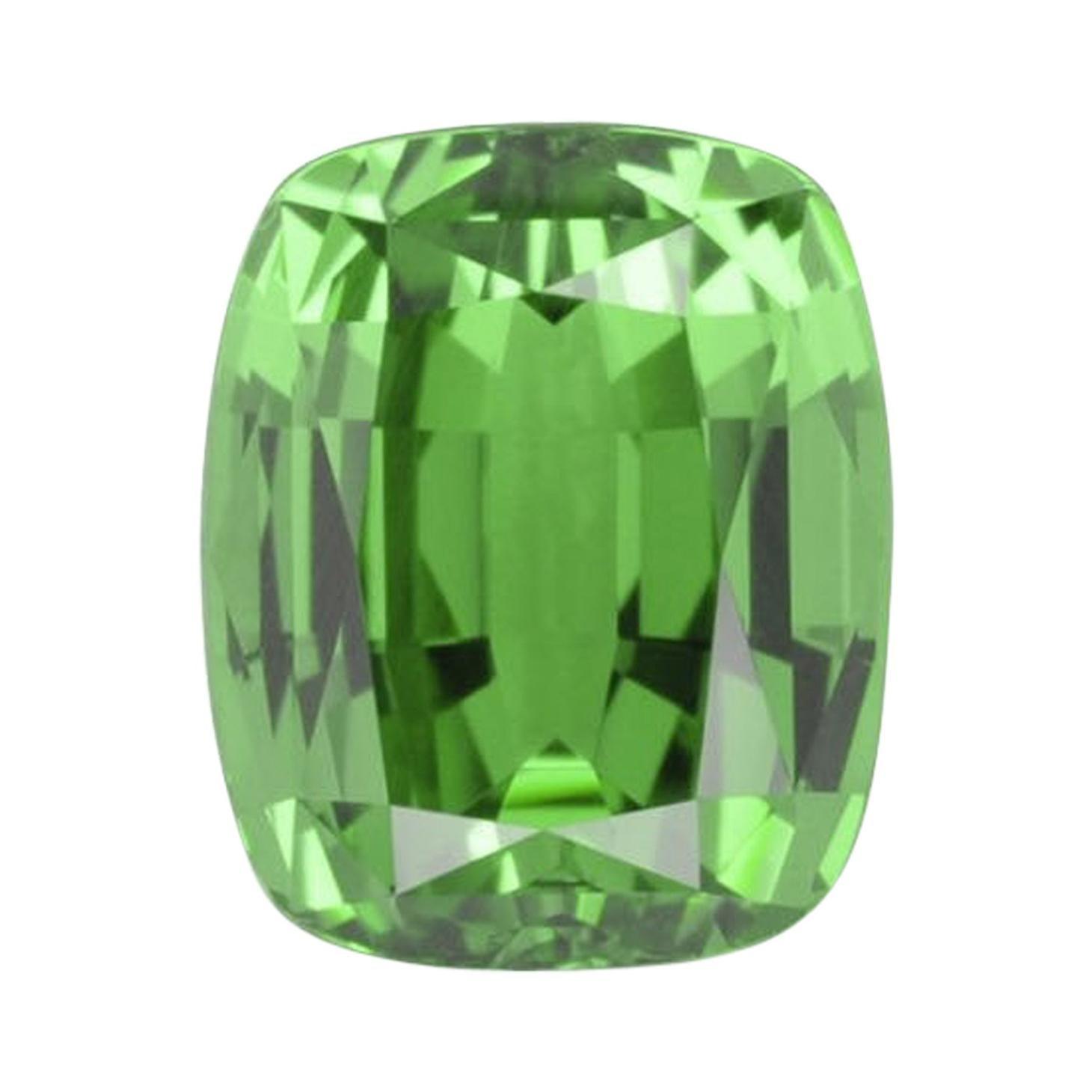 Tsavorite Ring Gem 4.10 Carat Cushion Loose Gemstone