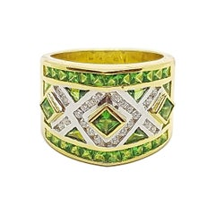 Tsavorite with Diamond Ring Set in 18 Karat Gold Settings