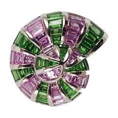 Tsavorite with Pink Sapphire Sea Shell Ring Set in 18 Karat White Gold