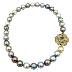 Tsavorite Yellow Sapphire Flower Multi-Color Tahitian South Sea Pearl Necklace