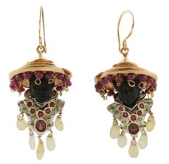 Tsavorite Rubini Topazio Ebano Rose Gold Moretto Earrings