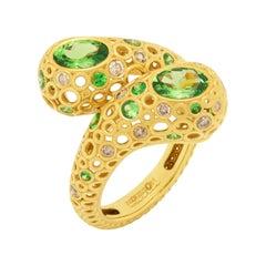 Tsavorites 1.50 Carat Champagne Diamonds 18 Karat Yellow Gold Bubble Ring