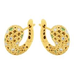 Tsavorites Diamonds 18 Karat Yellow Gold Bubble Earrings