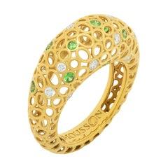 Tsavorites Diamonds 18 Karat Yellow Gold Bubble Ring