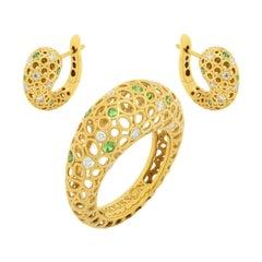 Tsavorites Diamonds 18 Karat Yellow Gold Bubble Suite