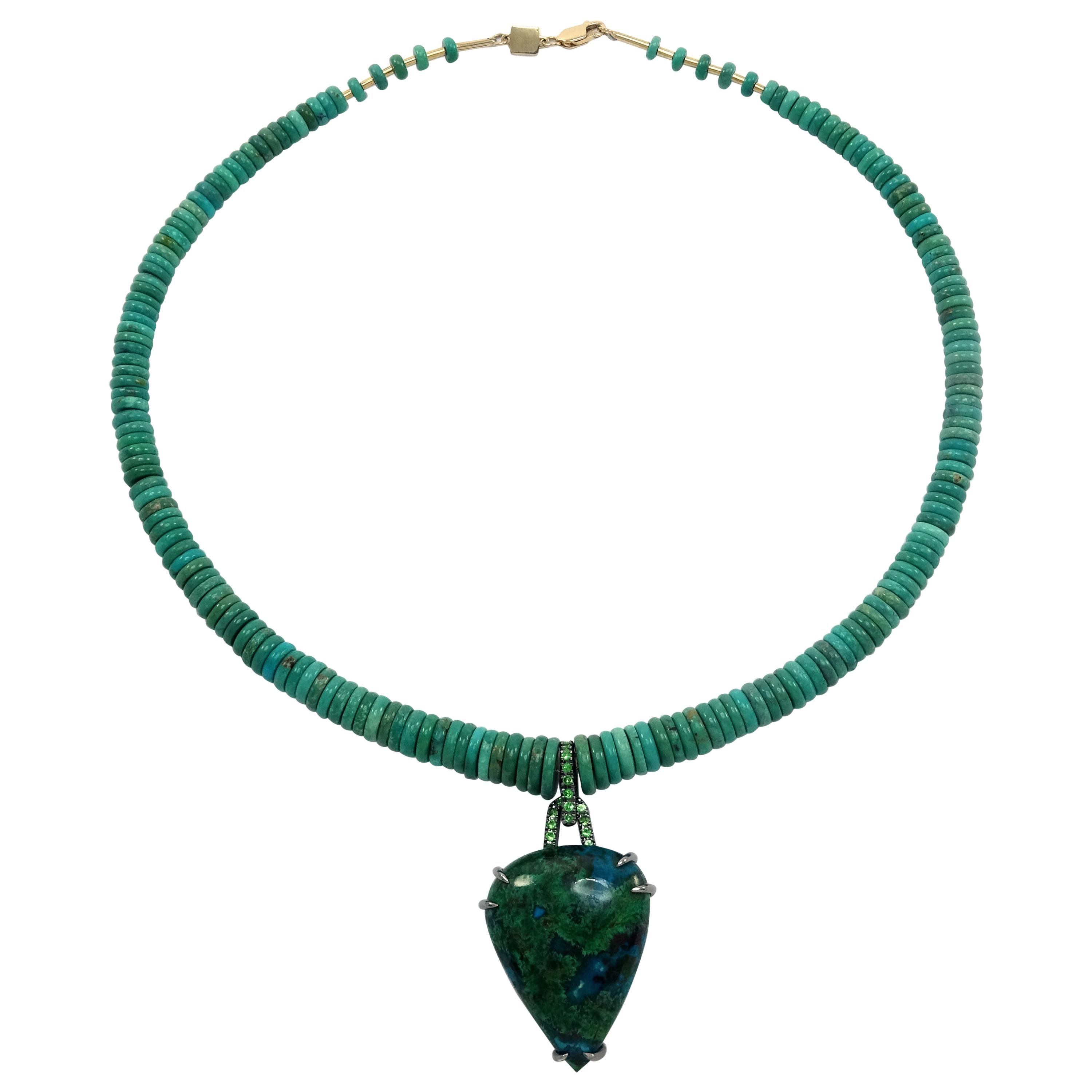 Tsavorites Reconstituted Green Chinese Turquoise 18k Gold 925 Silver Necklace