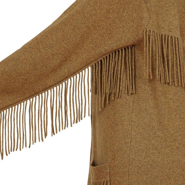 Brown TSE Cashmere Tassel Detail Pocket Coatigan Cardigan For Sale