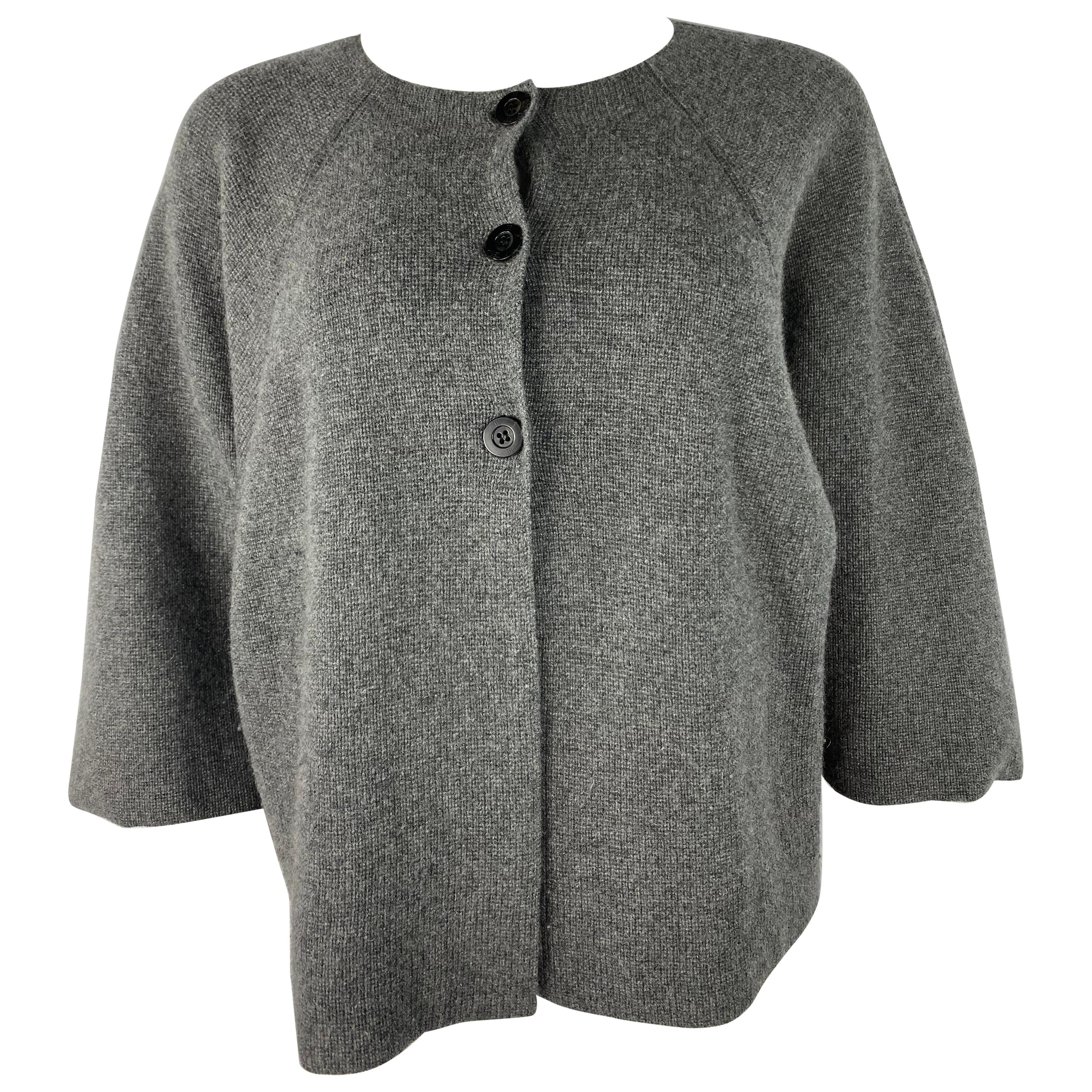 TSE Grey Cashmere Sweater Cardigan Top, Size S/M