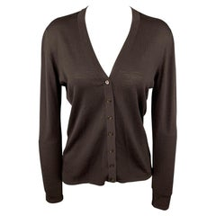 TSE Size L Brown Knitted Wool Buttoned Cardigan