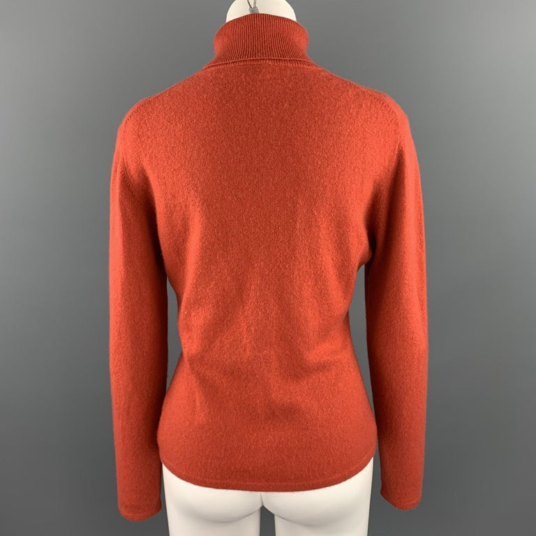 Red TSE Size L Coral Knitted Cashmere Turtleneck Sweater For Sale