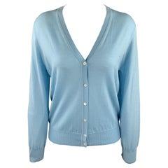 TSE Size M Light Blue Knitted Wool Buttoned Cardigan