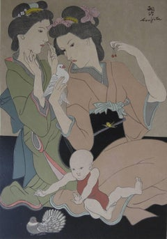 Japanese Geishas with a Dove - Original signed woodcut - 1932