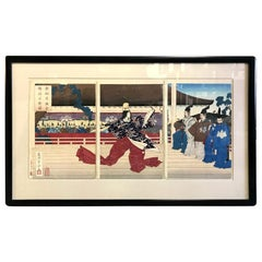 Tsukioka Yoshitoshi Japanese Woodblock Triptych Print Court Dancer, 19th Century