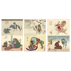 Tsukioka Yoshitoshi, Original Set of Six '6' 19th Century Japanese Prints