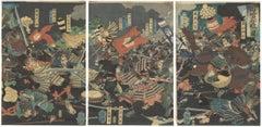 Sengoku Period, Yoshitoshi, Original Japanese Woodblock Print, Ukiyo-e, Samurai