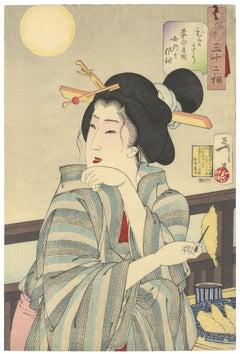 Yoshitoshi, Original Japanese Woodblock Print, Beauty, Floating World Art, Moon