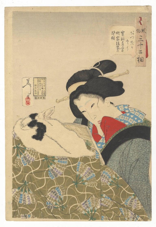 Tsukioka Yoshitoshi - Yoshitoshi, Cat, Japanese Woodblock Print ...