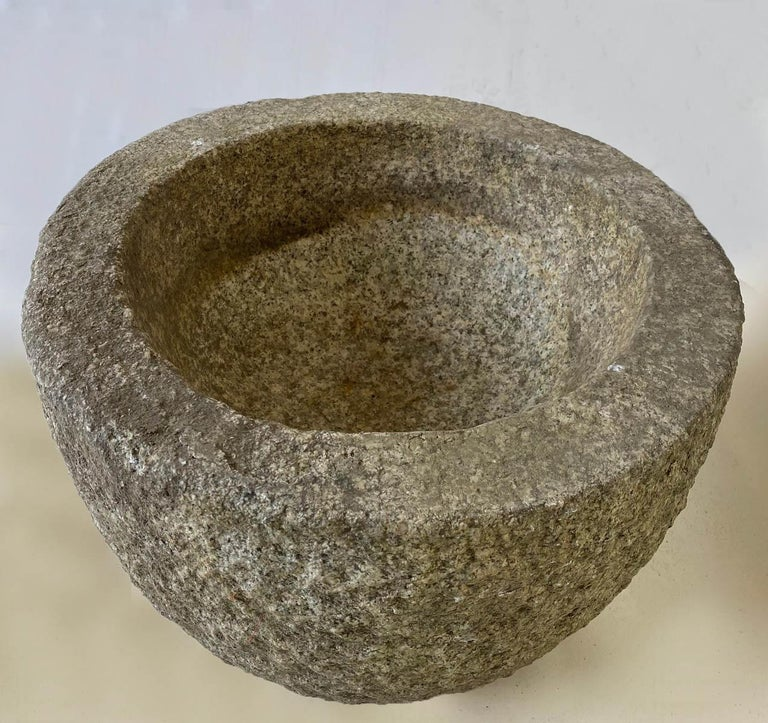 Carved Tsukubai, Japanese Stone Basin For Sale