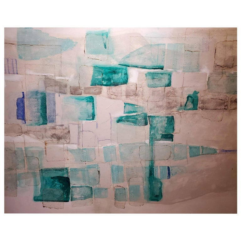 """""""Tsunami"""" Abstract Mixed-Media Painting on Canvas, Aqua, Teal, Blue, White For Sale"""