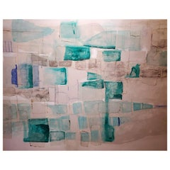 Tsunami, Abstract Mixed-Media Painting on Canvas, Blue, Green, White