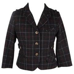 TSUNODA PARIS Black Wool Checkered CROPPED JACKET Blazer Size 40