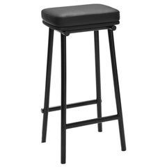 Tubby Tube Bar Stool with Black Frame & Black Leather Seat by Faye Toogood