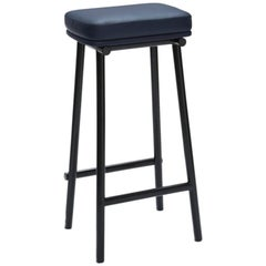 Tubby Tube Bar Stool with Black Frame & Navy Blue Leather Seat by Faye Toogood