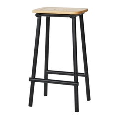 Tubby Tube Bar Stool with Wooden Seat by Faye Toogood