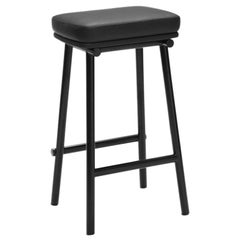 Tubby Tube Counter Stool with Black Frame & Black Leather Seat, Faye Toogood