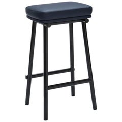 Tubby Tube Counter Stool with Black Frame & Navy Blue Leather Seat, Faye Toogood