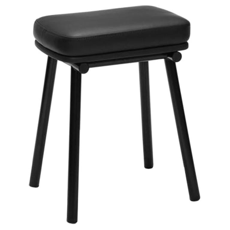Tubby Tube Stool with Black Frame & Black Leather Seat by Faye Toogood
