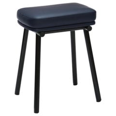 Tubby Tube Stool with Black Frame & Navy Blue Leather Seat by Faye Toogood
