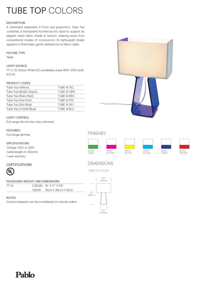 Contemporary Tubetop Table Lamp in Cobalt Blue by Pablo Designs For Sale