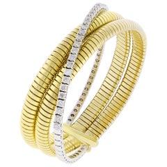 Tubogas Diamond and Gold Bangle Bracelet