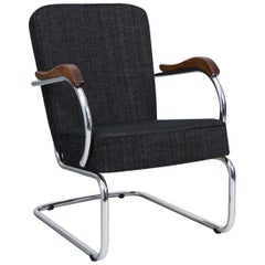 Tubular Armchair by Kovona, New Upholstery, Chrome in Perfect Condition, 1960s