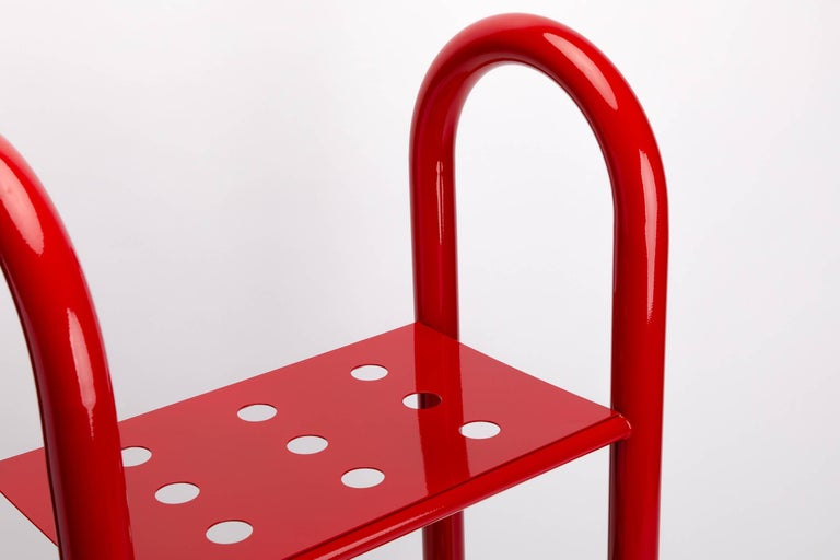 Powder-Coated Tubular Bookshelf by Another Human, Small, Modern Sculptural Bookshelf For Sale
