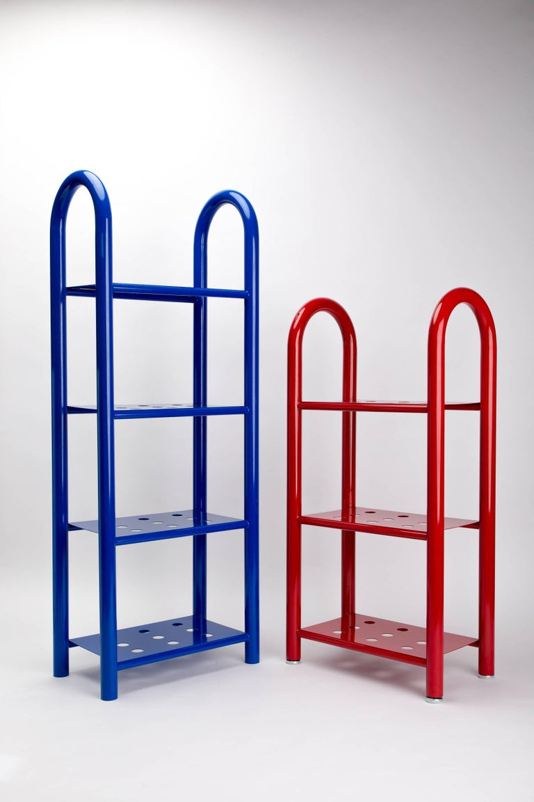 Steel Tubular Bookshelf by Another Human, Small, Modern Sculptural Bookshelf For Sale