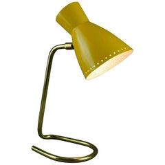 Tubular Brass Metal Desk Lamp, Yellow Diablo Shade, Italian Mid-20th Century