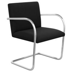 Tubular Brno Arm Chair, Ultrasuede/Black Onyx Upholstery & Satin Chrome Frame