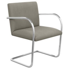 Tubular Brno Arm Chair, Ultrasuede/Mink Upholstery & Satin Chrome Frame