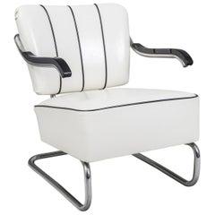 Tubular Chrom Cantilever Armchair by Mücke-Melder, White Leather, New Upholstery