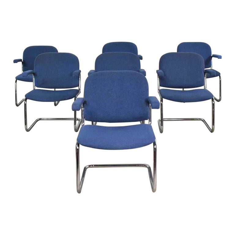 Tubular Chrome and Blue Fabric Cantilever Lounge Chair with Arms 7 Available For Sale