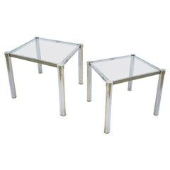 Tubular Chrome and Glass Side Tables, Pair