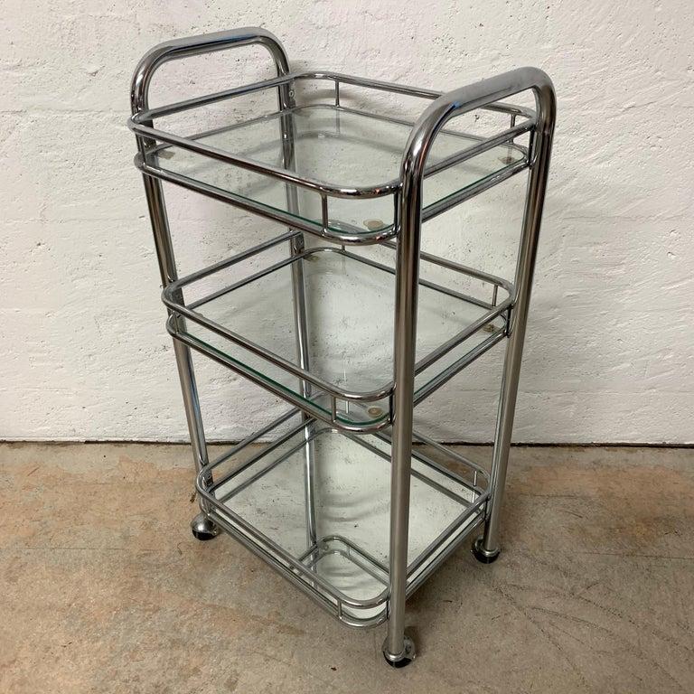 German Tubular Chrome Art Deco Style Bar Cart on Castors For Sale
