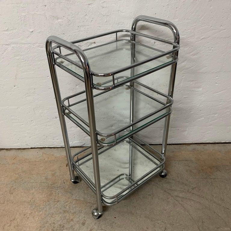 20th Century Tubular Chrome Art Deco Style Bar Cart on Castors For Sale