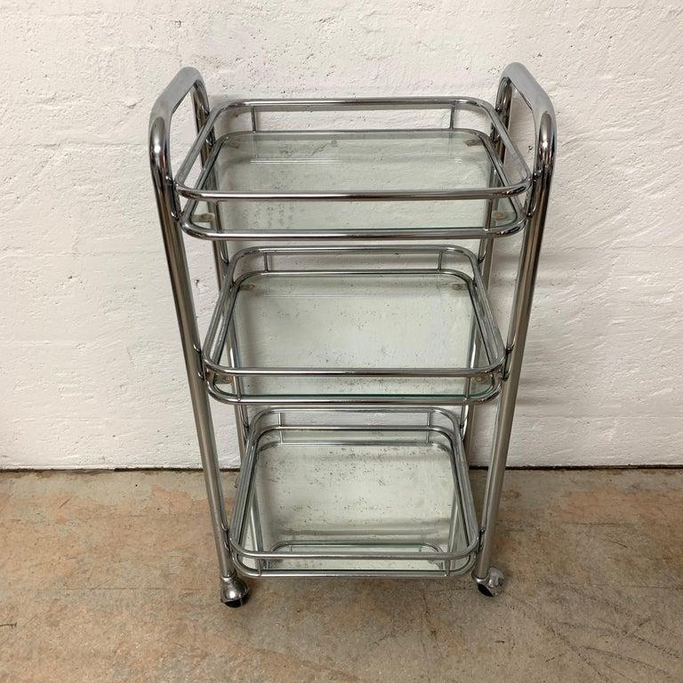 Steel Tubular Chrome Art Deco Style Bar Cart on Castors For Sale