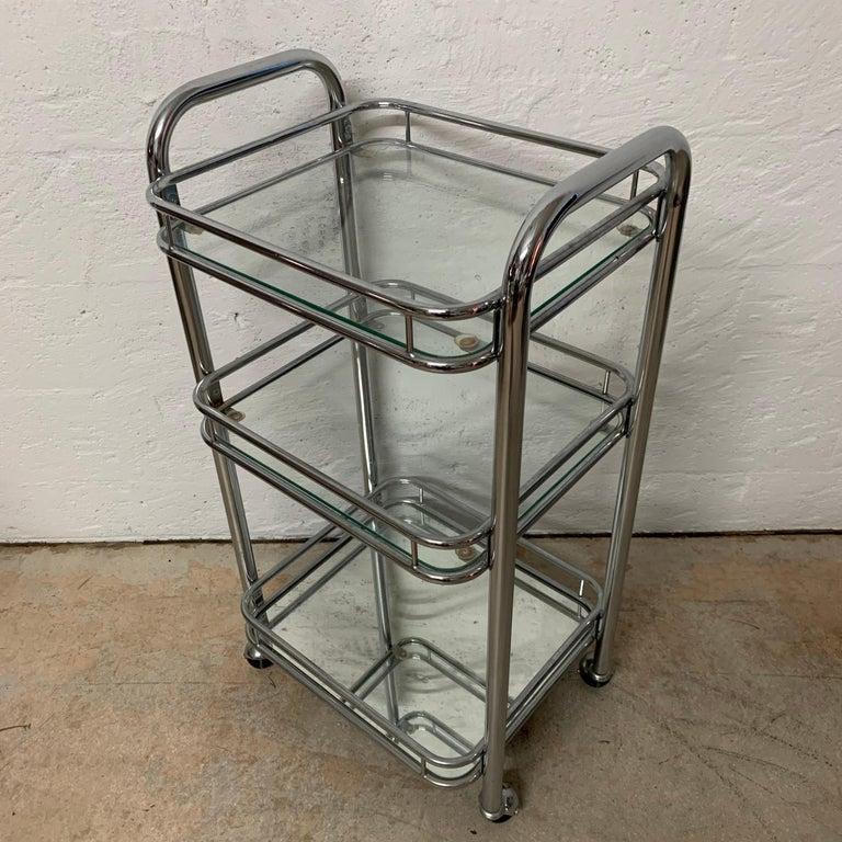Tubular Chrome Art Deco Style Bar Cart on Castors For Sale 1