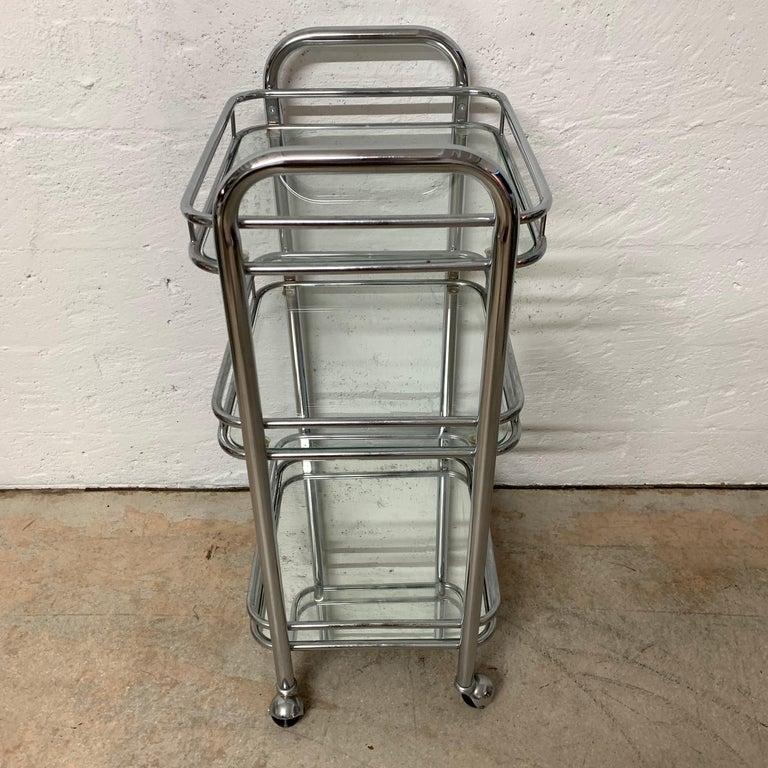 Tubular Chrome Art Deco Style Bar Cart on Castors For Sale 2